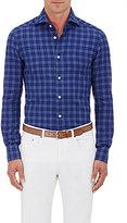 Kiton Men's Plaid Cotton Shirt-BLUE