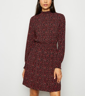 New Look Abstract Spot Long Sleeve Mini Dress