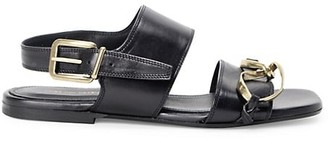 Dries Van Noten Twisted-Hardware Flat Leather Slingback Sandals