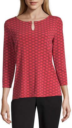 Liz Claiborne Womens Keyhole Neck 3/4 Sleeve Embellished Blouse