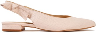 French Sole Penelope Bow-embellished Snake-effect Leather Slingback Flats