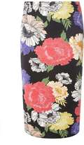 Dorothy Perkins Black Floral Scuba Pencil Skirt