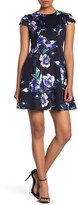 Vince Camuto Cap Sleeve Floral Scuba Fit & Flare Dress (Petite)