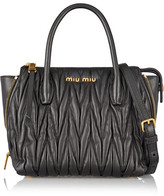 Miu Miu Trapeze Mini Matelassé Leather Shoulder Bag - Black