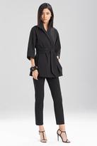 Josie Natori Structured Texture Belted Jacket