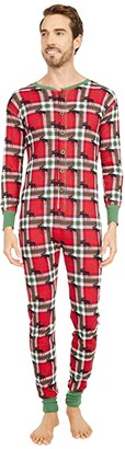 Little Blue House by Hatley Adult Union Suit One-Piece - Holiday Moose on Plaid (Red) Pajama Sets