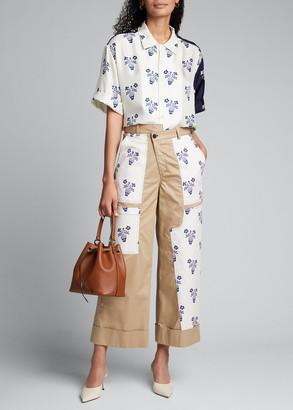 Monse Flower Pot Striped Silk Shirt