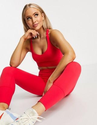 Lorna Jane v-neck back detail sports bra in red