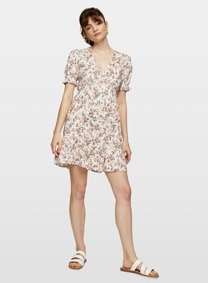 Miss Selfridge Peach Floral Tired Tea Dress