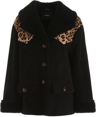 Miu Miu Leopard Print Shearling Jacket