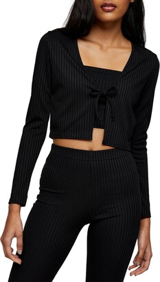 Topshop Skinny Rib Tie Front Cardigan