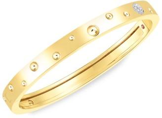 Roberto Coin Pois Moi Luna 18K Yellow Gold & Diamond Hinged Bangle Bracelet