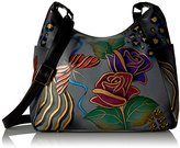 Anuschka Anna by Handpainted Large Multi Pocket Hobo, Rose Safari Grey