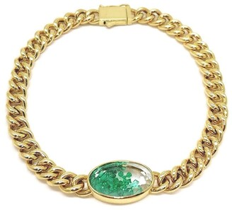 Moritz Glik 18kt Yellow Gold Emerald Shaker Curb Chain Bracelet