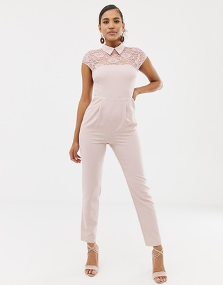 ASOS DESIGN lace top jumpsuit with collar