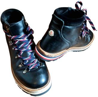 Moncler Black Leather Ankle boots