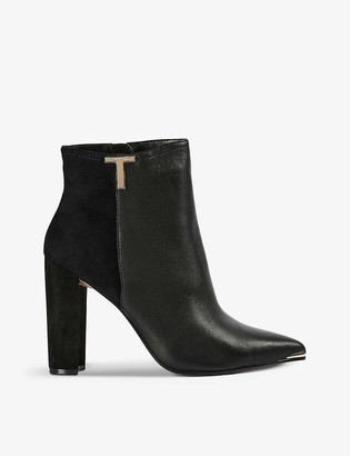 Ted Baker T-embellished heeled leather and suede ankle boots