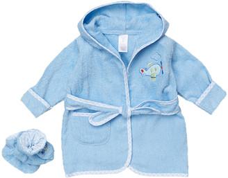 SpaSilk Boys' Infant Booties and Crib Shoes Blue - Blue Plane Terry Bathrobe & Booties - Newborn