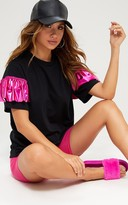 PrettyLittleThing Pink Foil Frill Oversized T Shirt
