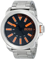 HUGO BOSS BOSS Orange Men's 1513006 New York Stainless Steel Bracelet Watch with Black Dial