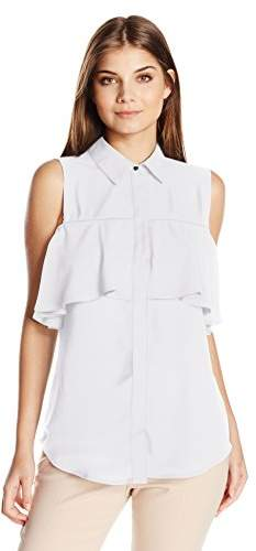 NY Collection Women's Petite Size Sld Ss Point Collar Blouse with Cold Shoulder Ruffle Overlay