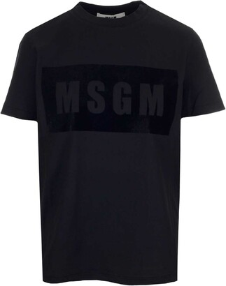 MSGM Flocked Box Logo T-Shirt