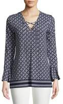 MICHAEL Michael Kors Long Sleeve Lace-Up Top