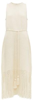 Rhode Resort Aaliyah Tasselled Cotton Midi Dress - Womens - Ivory