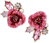 Betsey Johnson Gold-Tone Glitter Rose Mismatch Stud Earrings