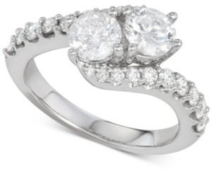 Two Souls, One Love Diamond Two-Stone Twist Engagement Ring (2 ct. t.w.) in 14k White Gold