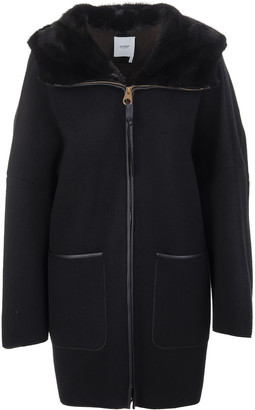 Agnona Woman Coat In Black Cashmere With Fur