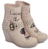 Pink & Black Girl & Cat Wedge Boot