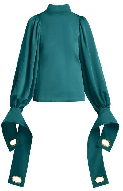 Self-Portrait Self Portrait Exaggerated Cuff Stretch Jersey Blouse - Womens - Dark Green