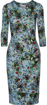 Erdem Allegra Floral-print Stretch-jersey Dress - Light blue