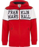 River Island Boys red Franklin and Marshall zip up hoodie