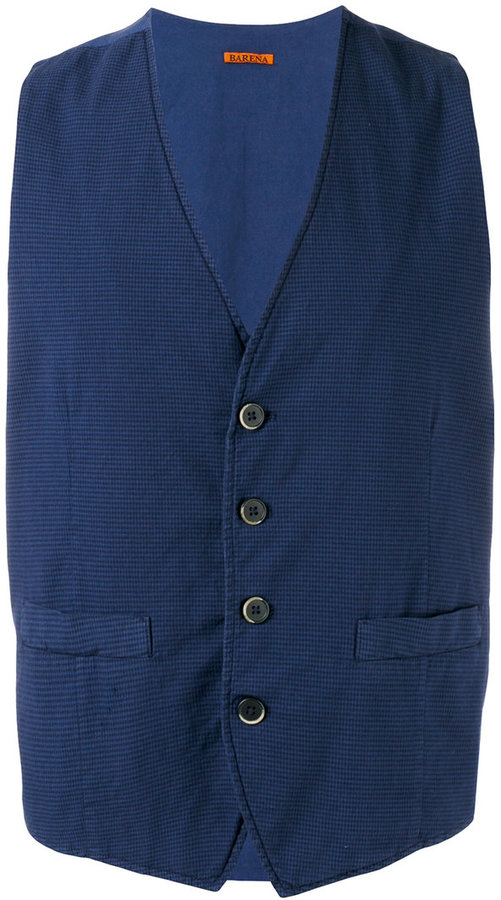 Barena houndstooth check waistcoat