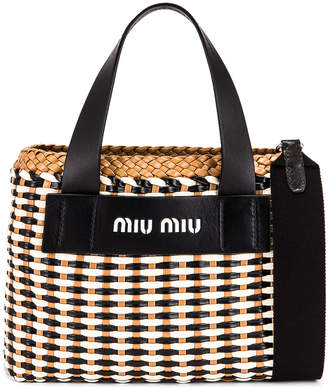 Miu Miu Straw Bag in Black & Caramel | FWRD