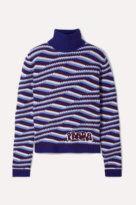 Prada Intarsia Cashmere Turtleneck Sweater - Blue
