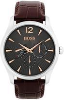 Hugo Boss Black Hugo Boss Black Commander Grey Chronogrpah Dial Brown Leather Strap Mens Watch