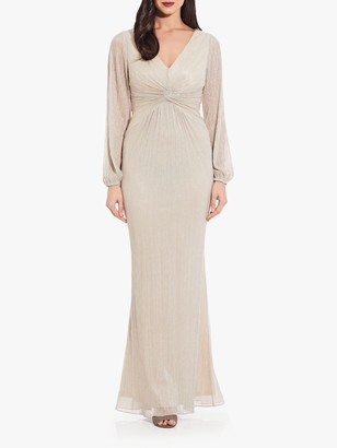 Adrianna Papell Plus Glitter Knot Detail Maxi Dress, Light Champagne