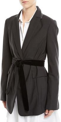 Brunello Cucinelli Long Lightweight Wool Blazer Jacket with Velvet Belt