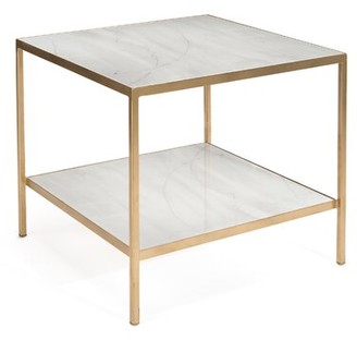 John-Richard Collection Glass Top End Table with Storage