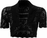 Xclusive Collection Womens Knitted Bolero Shrug Short Sleeve Crochet Shrug