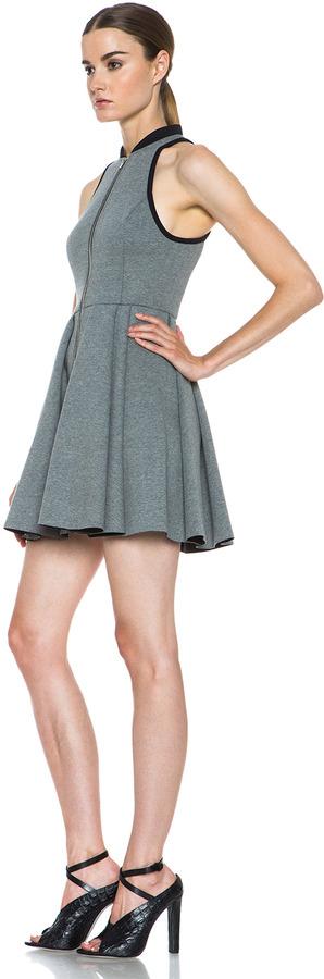 Alexander Wang Jersey Bonded Neoprene Rib Collar Dress in Heather Grey