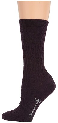 Smartwool Chain Link Cable Crew (Light Gray) Women's Crew Cut Socks Shoes