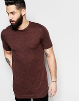 Asos Longline Knitted T-Shirt in Brown Twist