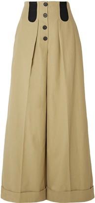 Rosie Assoulin Button-detailed Cotton-blend Wide-leg Pants