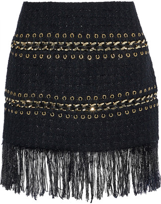 Balmain Fringe-trimmed Embellished Metallic Tweed Mini Skirt