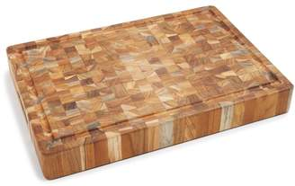 Butcher Block Rectangle End-Grain Cutting Board with Hand Grip and Juice Canal