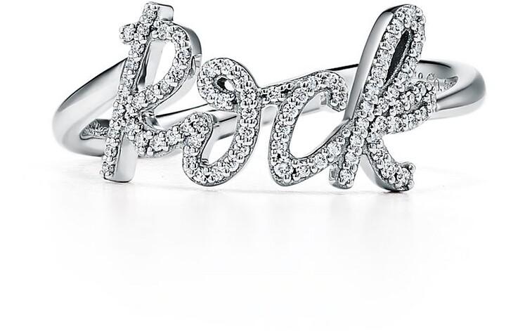 Tiffany & Co. Paloma's Graffiti Rock Ring in White Gold with Diamonds, Mini